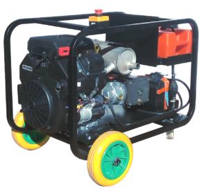 Hidrolimpiadora con motor de gasolina de 23 hp, 170 Bar - 50 l/min, un enorma caudal para limpiezas de gran calado.