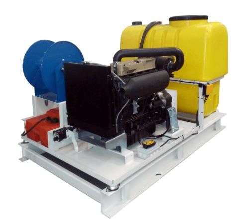 Hidrolimpiadora con motor diesel estacionaria