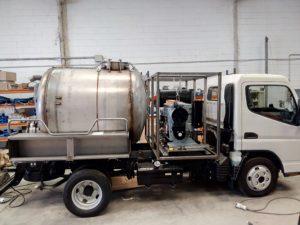 Camion combinado para desatascos fabricado en acero inoxidable