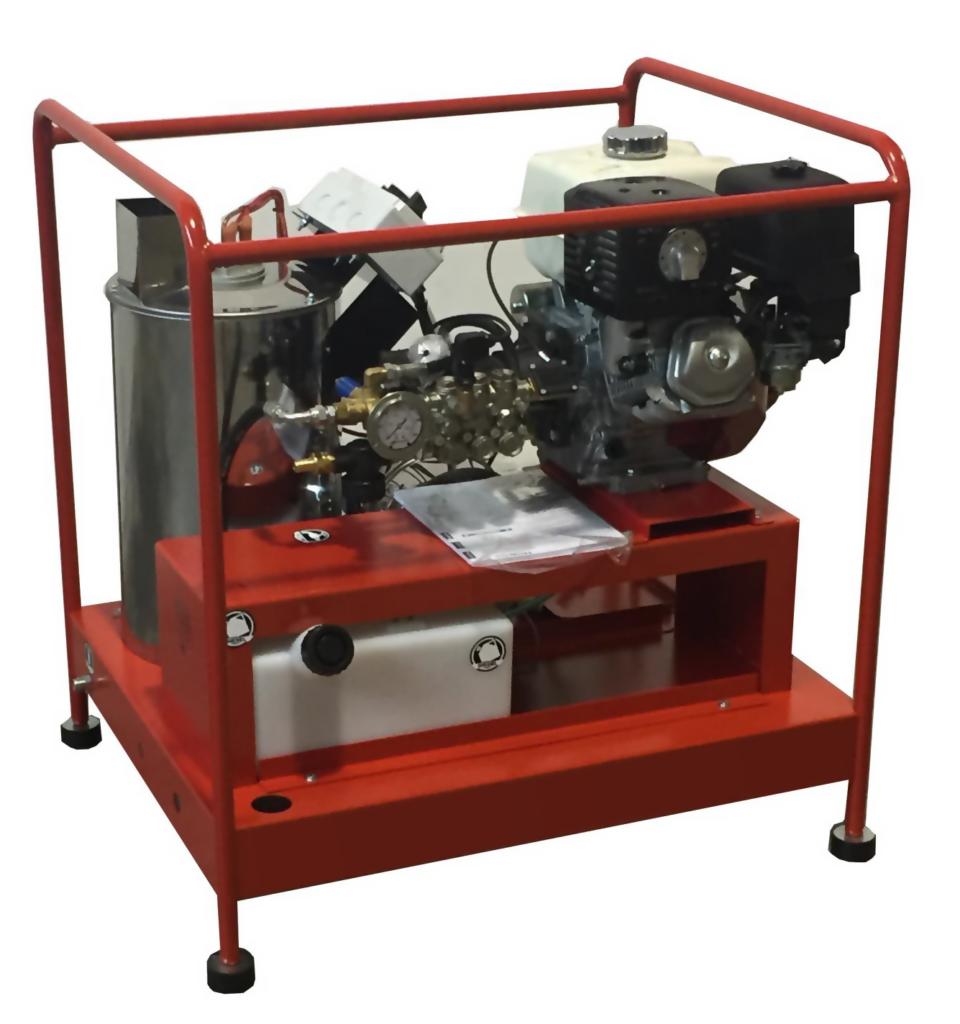 Hidrolimpiadora de agua caliente con motor de gasolina